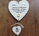 Shabby personalised Gift Chic Heart Plaque Sister Special Best Sister In Law..